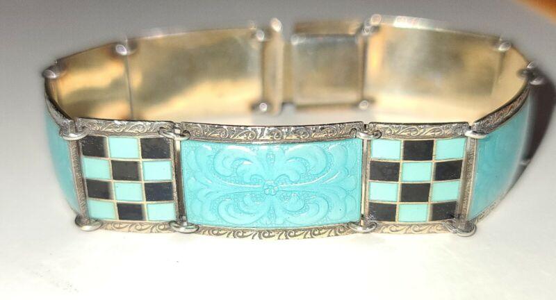 ART DECO Blue Checkered Guilloche Enamel Gold Over Sterling Silver Bracelet