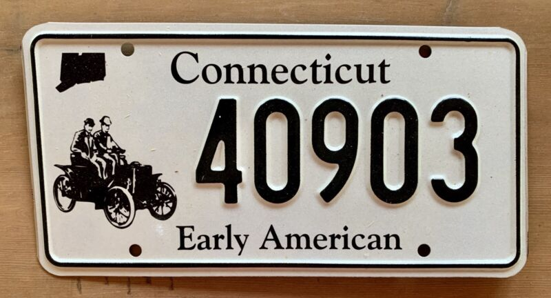 Antique Connecticut Early American Car Automobile Vehicle License Plate 40903