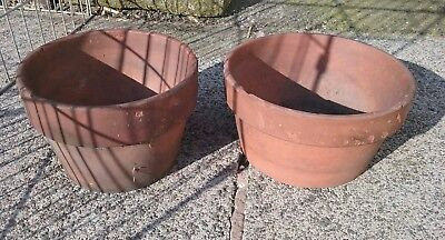 2 x Rare Victorian Terracotta Shallow Plant Pots half Planter bowl hand thrown