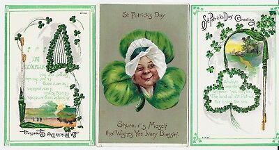 3 Vintage St. Patrick's Day lightly embossed postcards:  Unused