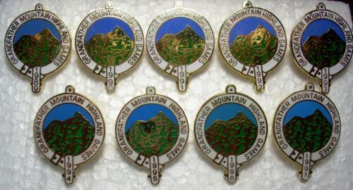 Grandfather Mountain NC Highland Games Annual pins 1989-1997 Scotland Clans lot