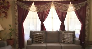 4 panels Burgundy fabric curtains with valance