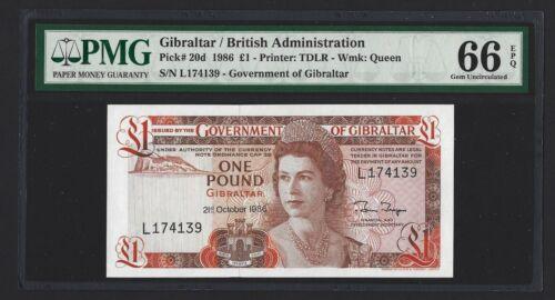 GIBRALTAR 1 Pound 1986, P-20d, PMG 66 EPQ Gem UNC, Better Date, L-Prefix, QEII