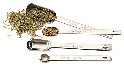 - SET 6 Stainless Steel Measuring Spoons Narrow to Fit in Spice Jar