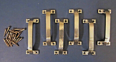 Used, 6 Vintage Art Deco NOS CHROME Drawer Pulls Ribbed Face Cabinet Handles for sale  Shipping to Canada