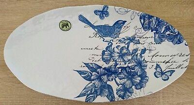 Blue White Melamine Platter Serving Plate Bird Floral Butterfly Outdoor BBQ Eat