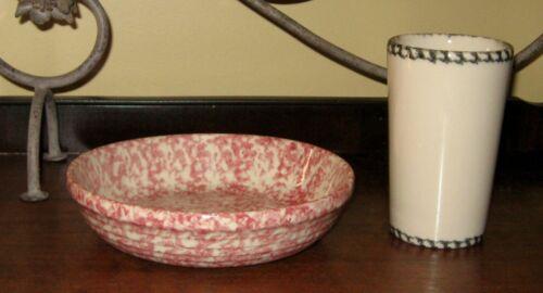 "Roseville Pottery Spongeware 8"" 28oz Bowl Pink Rose Red + Green Cup Gerald Henn"