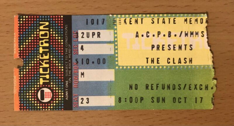 1982 THE CLASH KENT STATE U OHIO CONCERT TICKET STUB JOE STRUMMER COMBAT ROCK 23