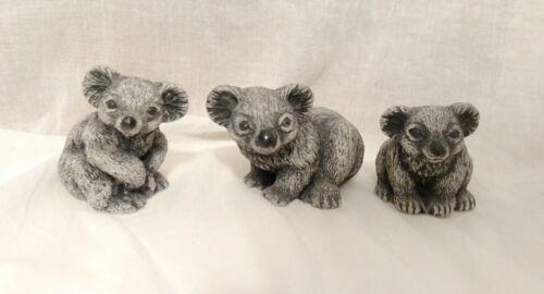 Set of 3 Koala Bear Figurines Handcrafted Sculptures