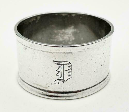 """Vintage English Sterling Silver Napkin Ring """"D"""" initial engraving c. 1944"""