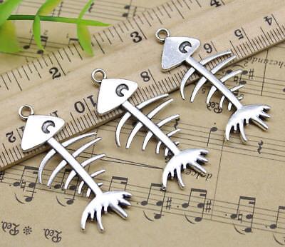 Wholesale Skeletons (Wholesale Retro Jewelry Making DIY Fish Skeleton Alloy Charm Pendants)