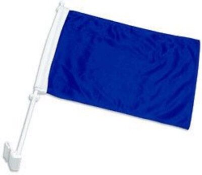 Royal Blue Car Flag - (2 Pack) 12x15 Solid Royal Blue Double Side Car Window Vehicle 12