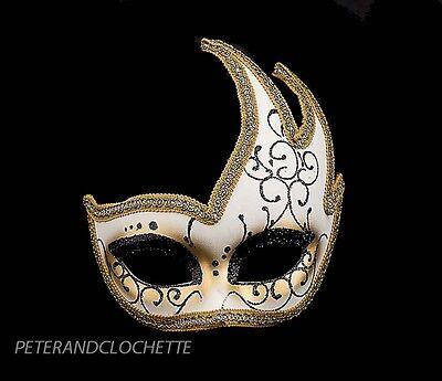 Mask Fancy Dress Wolf from Venice Colombine Swan Mystere Golden Black 826 V43