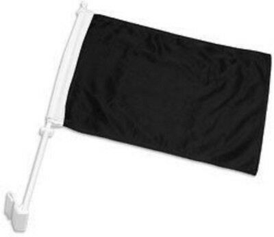 """(2 Pack) Solid Black 2ply Car Window Vehicle 12x18 12""""x18"""" Flag"""