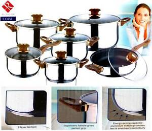 Gift 12pcs Stainless Steel Pot Set RENBERG with Ergonomic Handle South Granville Parramatta Area Preview