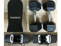 HOME GYM Powerblock Sport 9.0 Dumbbells up to 41kg & Powerblock Bench, Dip Bar & 2 x 15kg Dumbbells
