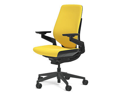New Steelcase Gesture Chair Adjustable Cogent Connect Shell Black Frame Canary
