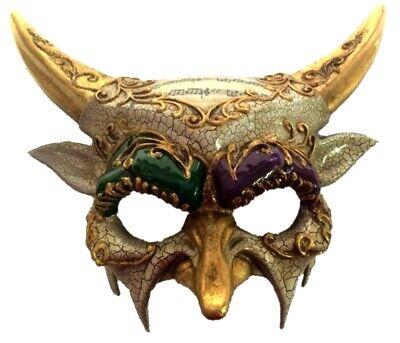 Mardi Gras Horned Devil Party Half Mask Adult Mens Venetian Costume Accessory - Devil Half Mask
