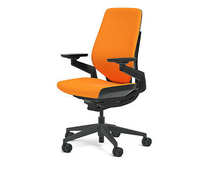 Steelcase Gesture Chair Adjustable Cogent Connect Shell Black Frame Tangerine