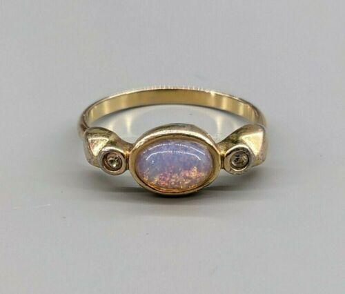 Foil Glass Faux Opal & Rhinestone Vintage Costume Gold Tone Ring Size N