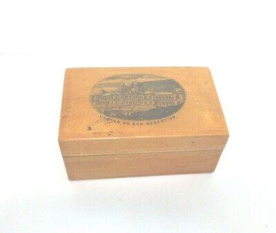 ANTIQUE MAUCHLINE WOODEN COTTON REEL  BOX CASINO DE SAN SEBASTIAN SPAIN