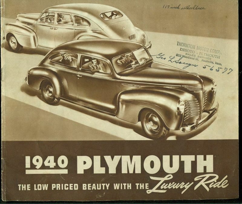 Vintage 1940 Plymouth Car Brochure
