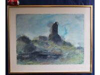 Painting Smailholm Tower near Kelso Scottish Borders Original Watercolour Large £100 ono