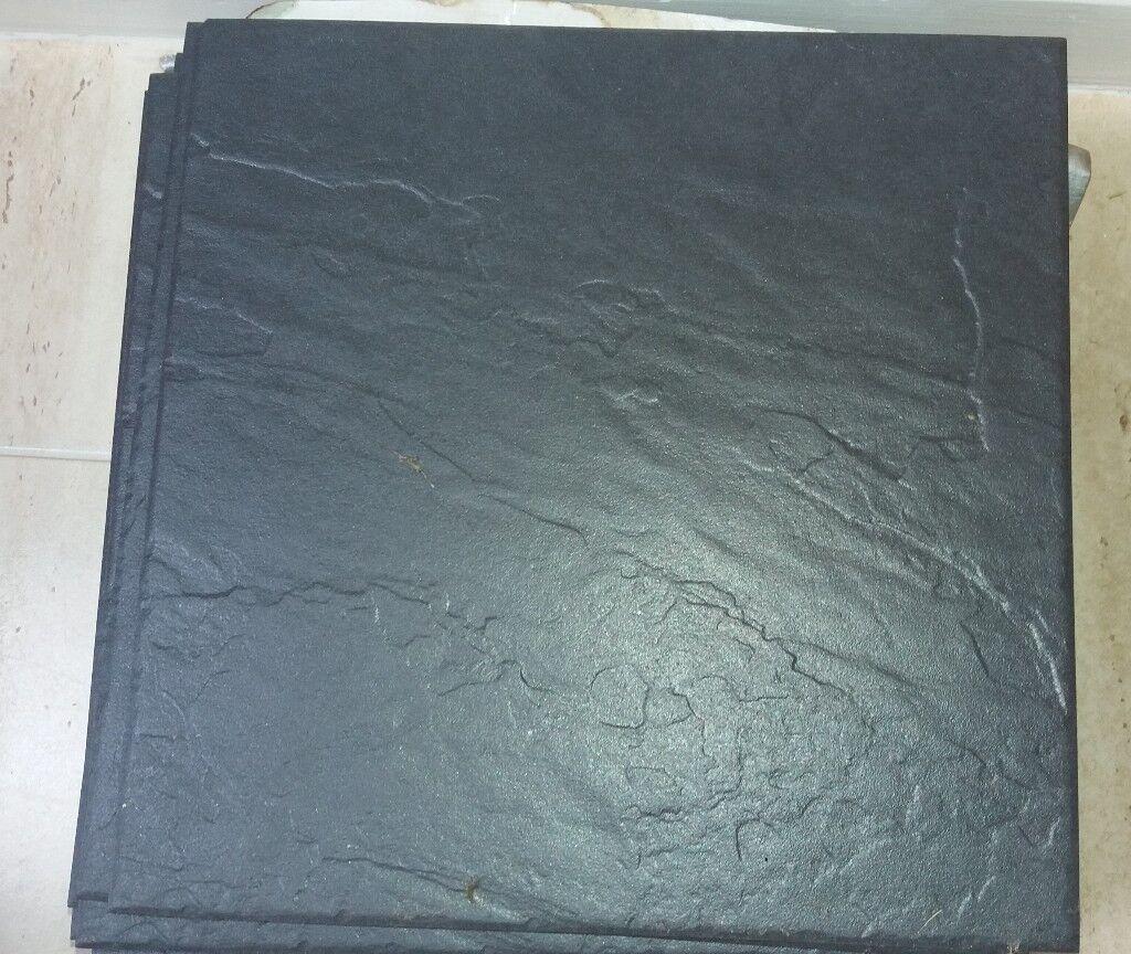 10 VITRA VERMONT PORCELAIN BLACK SLATE EFFECT FLOOR TILES 300CM X ...