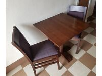 Dinning Table (50cm) with 2x Purple Tartan Chairs - Quality furniture in excellent condition - £50