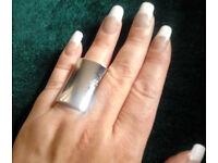 Ladies New Next Silver Colour Chunky Oversized Rectangular Fashion Ring.Size Medium.