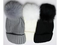 Warm winter hat with a large tassel- Brand New - Many colours - Quick delivery