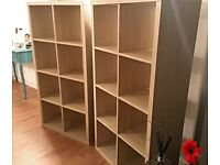 I can deliver - TWO good condition white stained Oak effect IKEA KALLAX (2x4 squares) shelving units
