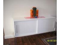 WHITE GLOSS IKEA SIDEBOARD WITH 2 SLIDING DOORS,CHROME EFFECT LEGS