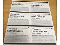 6 (Six) x Cineworld Cinema Ticket Vouchers - Expires 04/06/2018 - FAST DISPATCH
