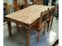 Large rustic farm house dinning table with 4 chairs very solid and well made can deliver