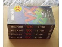 Four Pack of VHS Tapes, Brand New Sealed, Getting Hard to Find, 180 minutes each