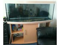 Large 5ft bow front fish tank with pine affect cabinet