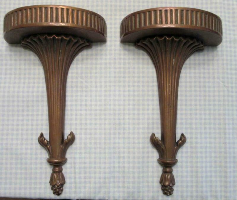 2 ANTIQUE COPPER COVERED NEO CLASSICAL WALL SHELF SCONCES, CORBEL,BRACKETS
