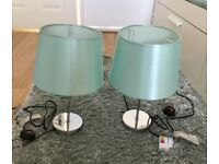 Chrome Touch Lamps with Duck Egg Shades X 2