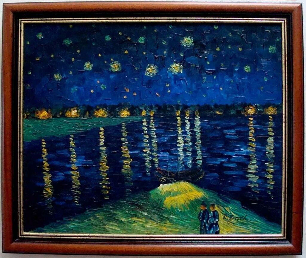 ****Oil painting Hand painting reproduction Starry Night Over the Rhone of Van Gogh****