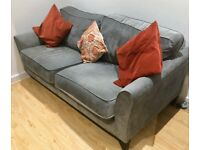 Two Seater Grey Sofa - Excellent Quality Fabric Sofa in Central Croydon - Ideal For Apartments
