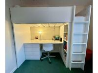 Ikea High Sleeper Bed With Wardrobe, Drawers, Shelves And Desk