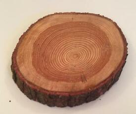 Wedding log slices centre pieces rustic natural cake stand