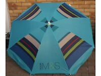 GARDEN PARASOL, ATTRACTIVE BLUE STRIPED FROM MARKS AND SPENCER, LITTLE USED BARGAIN ONLY £8