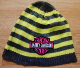 Unisex Grey Marl and Green Striped Harley Davidson Motif Knit Beanie Hat.