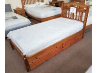 Single Duckers Pine Bed Frame with 2 pine underbed storage drawers