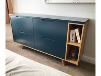Modern Hague Blue and Oak Sideboard, Cabinet, Cupboard, Drawer Chest with Integrated Oslo Handles