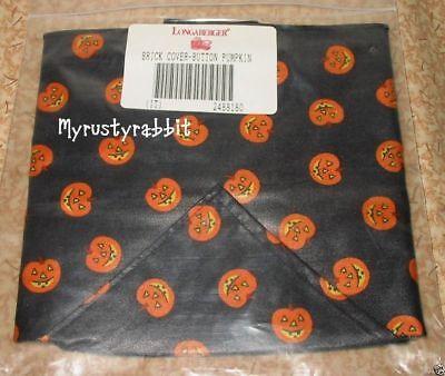 Longaberger Button Basket Fabric Brick Cover ~ Pumpkin BOO - Halloween - NEW