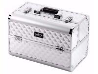 Silver Heavy Duty Vanity Case Makeup Tools Box Cosmetics Varnish Organiser