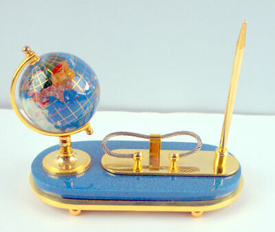 Gemstone Globe Brass Desk Set Pen Cardholder Pretty Lapis